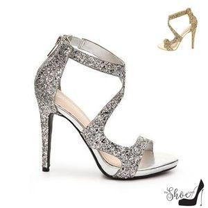 Newbee-36x Silver Glitter Halter Strap Heels